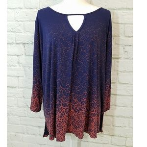 Lucky Brand Paisley Gradient Printed Top